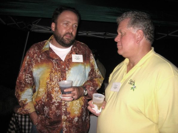 Matt Sonnhalter, Sonnhalter and Associates, and John Freebairn, Freebairn  and Company, mingle during the TAAN 07 Summer Meeting in Gatlinburg.