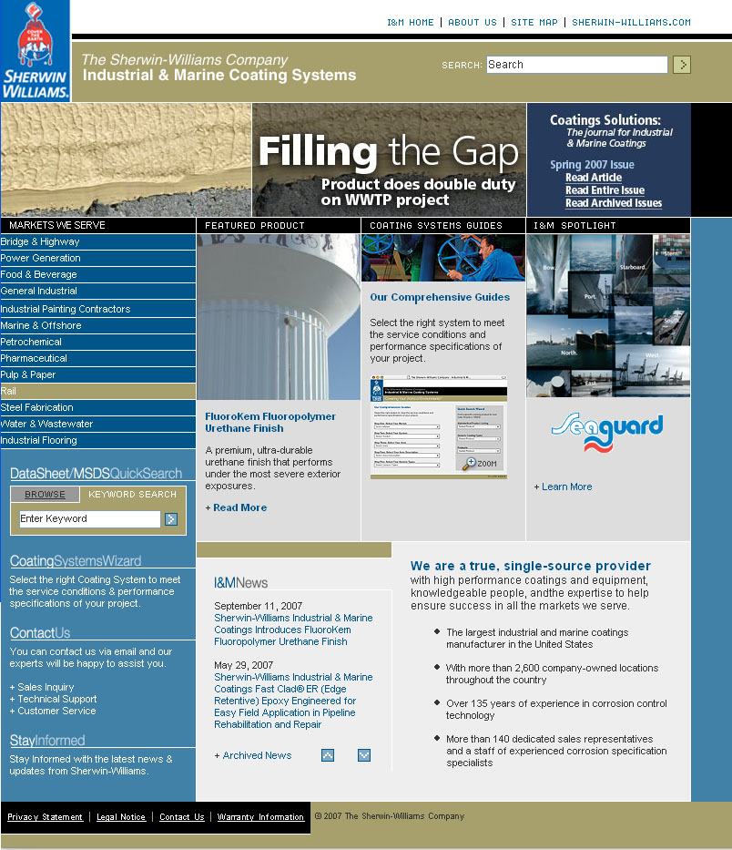 Sherwin williams industrial marine site design still for Industrial design sites