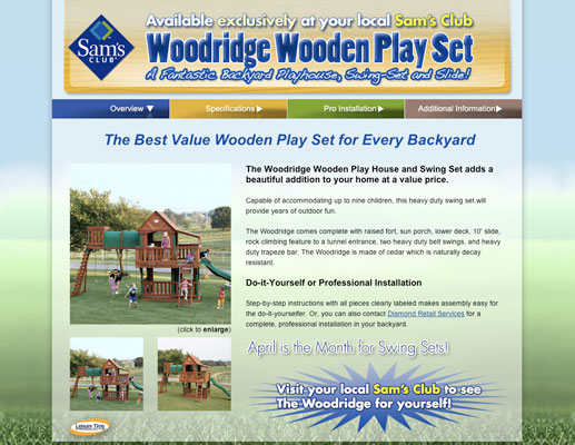 Woodridge Wooden Play Set Mini-Site to support Sam's Club