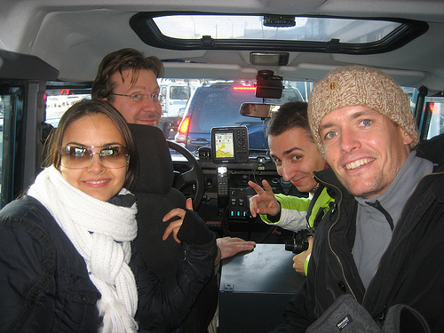 Svetlana Protasova, Aviator, Bernd Loschenbrand, Kieswetter, and Artur Slawnikowski, Oskar Wegner, prepare for take off on the TAAN Europe's 4-Wheel Outing in Southern Iceland, October 2008.