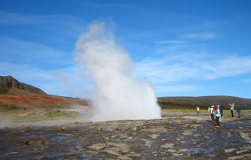 The Great Geysir in the Haukadalur valley, Iceland, is the oldest known geyser and where we get the English name for this phenomenon.