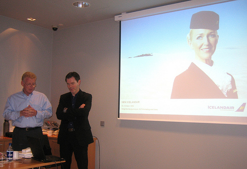 Peter Gerritsen, TAAN President introduces Helgi Mar Bjorgvinsson, CMO of IcelandAir during the TAAN European Fall 2008 Meeting in Reykjavik, Iceland.