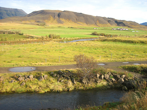 Landscape near Mosfellsbær, Iceland. This time of year, Iceland is green -- it's Greenland that's Icy.