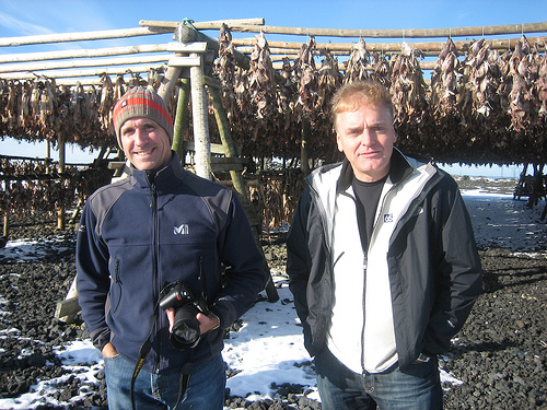 John Reisky du Dubnic, The Duffy Group, and Hallur Baldursson, ENNEMM, pause in front of drying fish racks during the TAAN Europe's 4-Wheel Outing in Southern Iceland, October 2008.