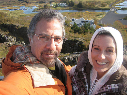 Barbara and Mark Vitullo at Þingvellir, Alþing, the site of Iceland's Viking government in 930 AD.