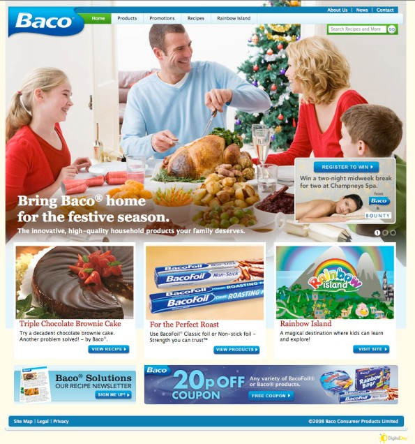 Baco's new, consumer-friendly site with recipes, promotions and DigitalDay's coupon engine