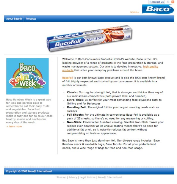 Baco's old website was a simple, uninspiring listing of products and not much else.