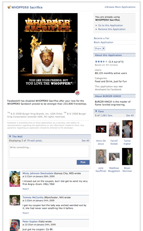 Whopper Sacrifice facebook-application-page