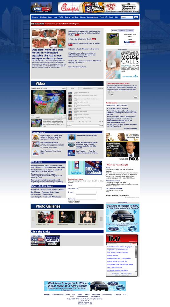 Fox8 homepage