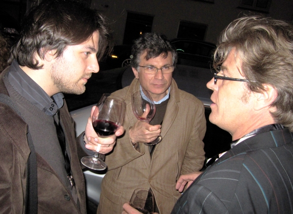 Prospective members from Italy, Francesco and Roberto Miscioscia, spend time with France's Bruno du Teilleul of Mr. Joe.