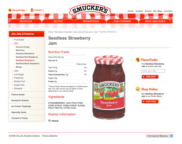 The new Smucker's Product Detail page designs make packaging the hero.